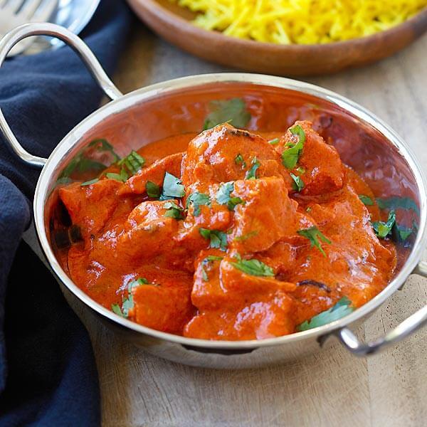 Cubes de fromages maison cuit au Tandoor puis mijoté dans une sauce tomate et ses épices, Spécialité du Nord de l'Inde